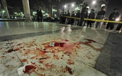 Blood in front of Al-Hussein mosque