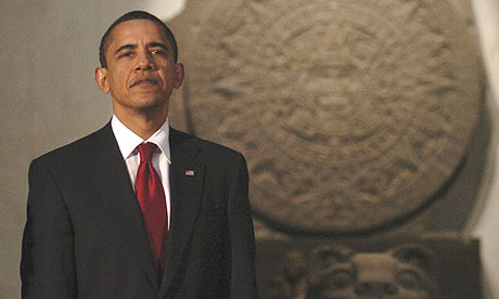 Barack Obama at an official dinner yesterday in the Anthropology Museum in Mexico City. Photograph: Reuters